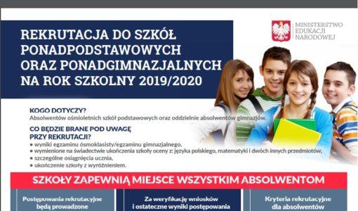 Rekrutacja do szkół ponadpodstawowych na rok szkolny 2019/20