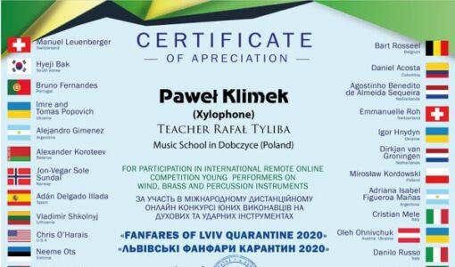 Sukces międzynarodowy naszego najmłodszego ucznia Pawła Klimka z klasy 1a
